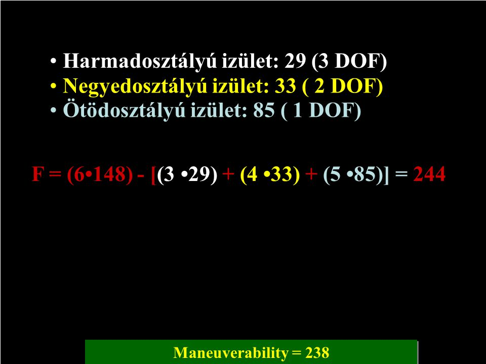 F = (6•148) - [(3 •29) + (4 •33) + (5 •85)] = 244